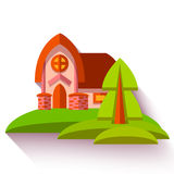 Vector illustration with cute house in flat style Royalty Free Stock Photos
