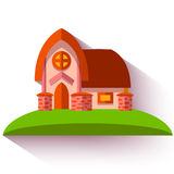 Vector illustration with cute house in flat style Royalty Free Stock Photo