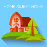 Vector illustration with cute house in flat style Royalty Free Stock Images