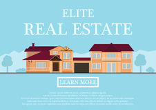 Vector illustration of cute house for rent or sale in flat building style. background with blue pastel colors. country Royalty Free Stock Photos