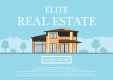 Vector illustration of cute house for rent or sale in flat building style. background with blue pastel colors. country Royalty Free Stock Photography