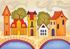 Vector illustration with cute houses Royalty Free Stock Images