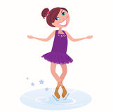 Vector Illustration of cute ice skating woman. Winter holidays: Young figure skating woman posing on ice Stock Photography