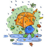 Vector illustration of cute kid with umbrella in rainy season. Stock Photo