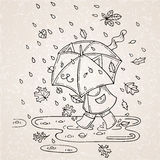 Vector illustration of cute kid with umbrella in rainy season. Stock Images