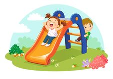 Cute kids having fun on slide in playground stock illustration