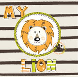 Vector illustration with cute lion Stock Photography