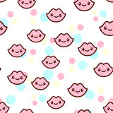 Vector illustration of the cute lips with the funny faces seamless pattern. Trendy Kawaii emoticons for print on t-shirt. One piece body gift for kids Stock Image