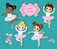 Vector illustration of cute little ballerinas. Royalty Free Stock Photo