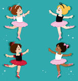 Vector illustration of cute little ballerinas. Ballet Slippers. Clip art cute characters, pink tutus, ballet shoes Stock Photos