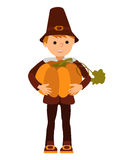 Vector illustration cute little boy holding a big pumpkin isolated on white background for Happy Thanksgiving Day Royalty Free Stock Photo