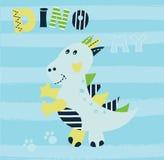 Vector illustration with cute little dinosaur Royalty Free Stock Photos