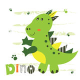Vector illustration with cute little dinosaur Royalty Free Stock Photography