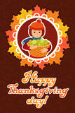 Vector illustration cute little girl holding a big basket with apples card for Happy Thanksgiving Day celebrations Stock Photography
