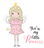 Vector illustration of a Cute Little Girl. Royalty Free Stock Photo