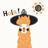 Llama in hat. Vector illustration, a cute llama in mexican sombrero hat, hola spanish text, which is translated as hello Royalty Free Stock Photos