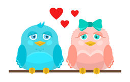 Vector illustration. Cute love birds sitting on a perch. Royalty Free Stock Image