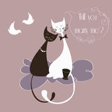 Vector Illustration with cute lovers cats Stock Photos