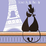 Vector Illustration with cute lovers cats in Paris. Love in Paris royalty free illustration