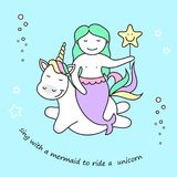 Cute mermaid and magic unicorn, vector illustration stock illustration