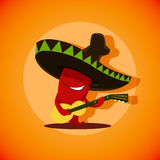 Vector illustration of cute mexican chili pepper who is playing Stock Photos