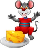 Cute mouse cartoon sitting eating cheese with smile and waving Royalty Free Stock Image