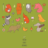 Vector illustration with cute and naive forest animals.  Stock Photos