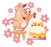Vector Illustration of a Cute Pig. Cartoon Character stock illustration