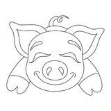 Vector illustration of cute pig, coloring book page Stock Photography