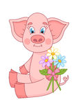 Vector illustration of cute pig giving bouquet  Stock Photography