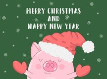 Vector illustration of a cute pig in winter clothes and snowflakes on a green background. Image for the New Year, Christmas, print. S, banners, invitations stock illustration