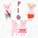 Vector illustration of cute pigs. vector illustration