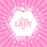 Vector illustration. Cute Pink Banner for Princess, Glamour and Baby Girl Design. Shining Retro on Burst Background. Stock Images