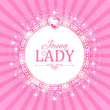Vector illustration. Cute Pink Banner for Princess, Glamour and Baby Girl Design. Shining Retro on Burst Background. Stock Photography