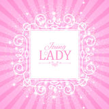 Vector illustration. Cute Pink Banner for Princess, Glamour and Baby Girl Design. Shining Retro on Burst Background. Cute Pink Banner for Princess, Glamour and Stock Images