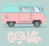 Vector illustration cute pink car. royalty free illustration