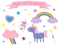 Vector illustration of cute pink and lilac unicorn, hearts, stars, clouds, rain, rainbow. Vector illustration with cute pink and lilac unicorn and symbols of royalty free illustration