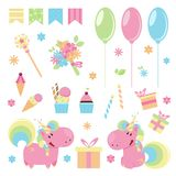 Vector illustration of cute pink unicorns with happy birthday elements. Flat design Stock Photo