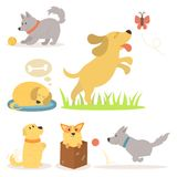Vector illustration cute playing dogs characters funny purebred puppy comic happy mammal breed Royalty Free Stock Photo