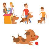 Vector illustration cute playing dogs with people characters funny purebred puppy comic happy mammal breed. Vector illustration cute dogs with people characters stock illustration