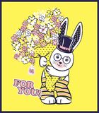 Vector illustration of cute rabbit with cylinder hat, big bouquet of spring flowers and lettering - for you. Cartoon character on bright yellow background Stock Photography