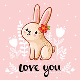 Vector illustration of a cute rabbit. Stock Images