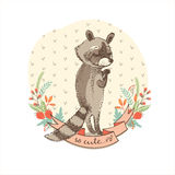 Vector illustration of cute raccoon. Royalty Free Stock Photography