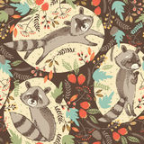 Vector illustration of cute raccoon. Royalty Free Stock Photo