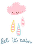 Vector illustration of cute rainy cloud Stock Photography