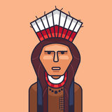 Vector illustration of cute red indian. Cartoon american indians. Vector illustration of cute red indian Stock Photo