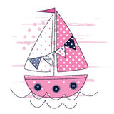 Vector illustration with cute sailing ship Royalty Free Stock Image