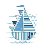 Vector illustration with cute sailing ship Stock Images