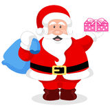 Vector illustration of a cute santa claus. With gift box and bag Royalty Free Stock Photo