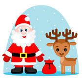 Vector illustration of cute santa claus with gifts and reindeer Stock Photo